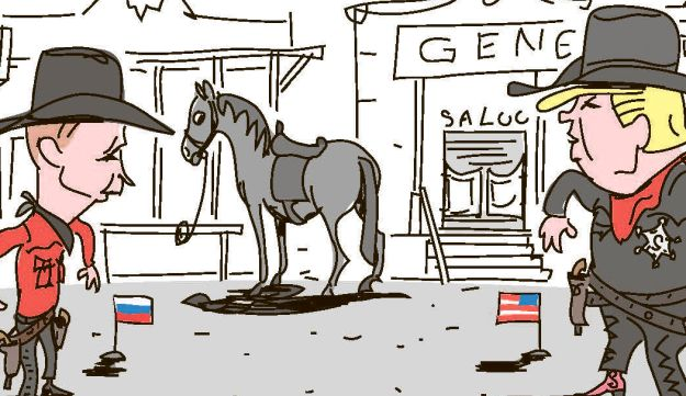 In this cartoon, Trump and Putin are duelling