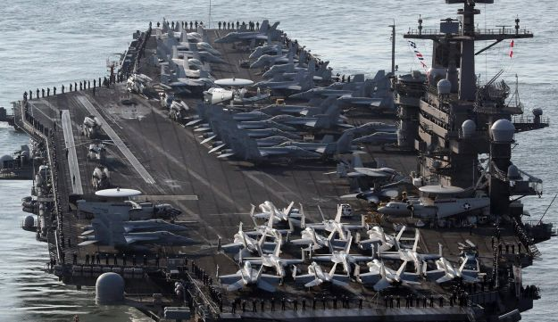 U.S. Navy aircraft carrier Carl Vinson approaches to participate in the annual joint military exercise called Foal Eagle between South Korea and the United States, March 2017.
