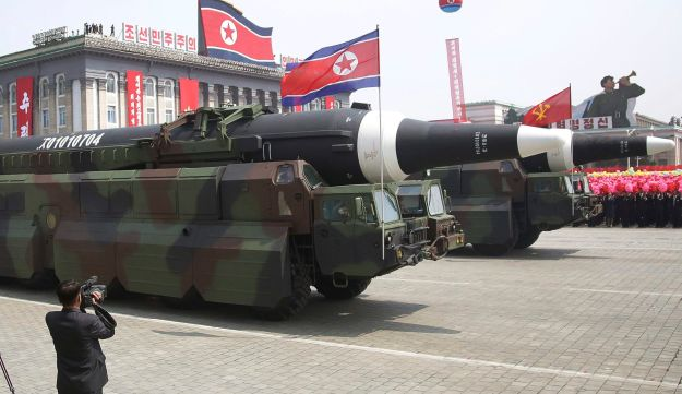 An apparent KN-08 Intercontinental Ballistic Missile is paraded across Kim Il Sung Square during a military parade in Pyongyang, North Korea, April 15, 2017.