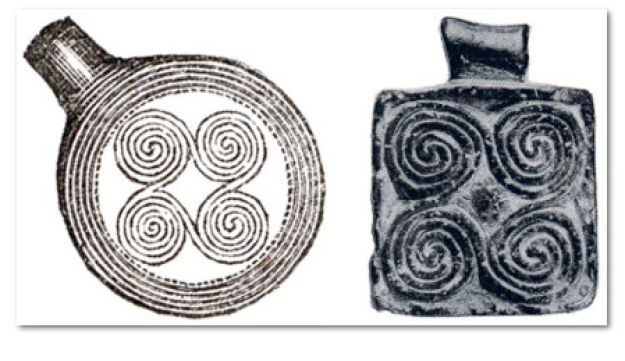 The spiral decoration on objects from Bronze Age-Sweden (left) and Greece (right) are practically identical, indicating a cultural interchange between the two regions.