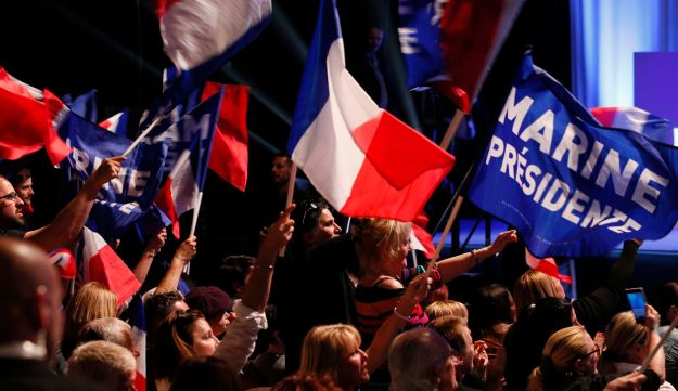 Supporters of Marine Le Pen at a campaign rally in Marseille, April 19, 2017.