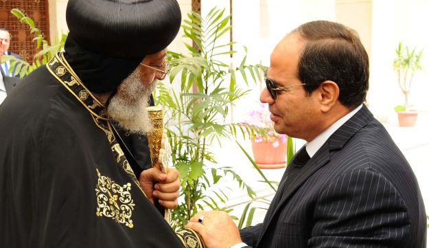 Egyptian President Abdel Fattah al-Sisi arrives to meet with Pope Tawadros II, the 118th Pope of the Coptic Orthodox Church of Alexandria and Patriarch of the See of St. Mark Cathedral