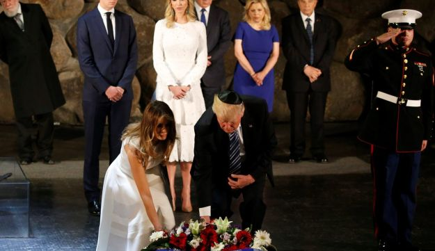 President Donald Trump and first lady Melania lay a wreath in the Hall of Remembrance at Yad Vashem Holocaust memorial in Jerusalem May 23, 2017