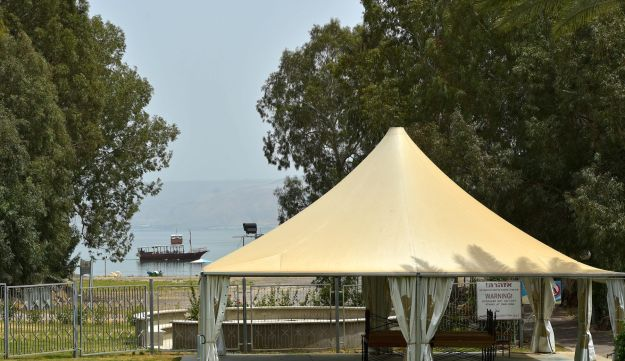 The beach of Ginossar Hotel on the shore of the Sea of Galilee, April 26, 2017.