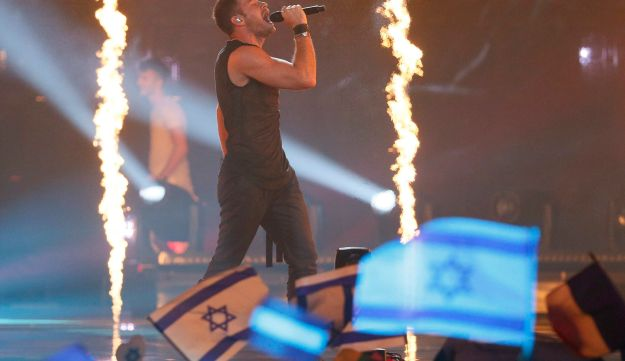 """Israel's IMRI performs the song """"I Feel Alive"""" during the Eurovision Song Contest 2017 Semi-Final 2 at the International Exhibition Centre in Kiev, Ukraine, May 11, 2017."""