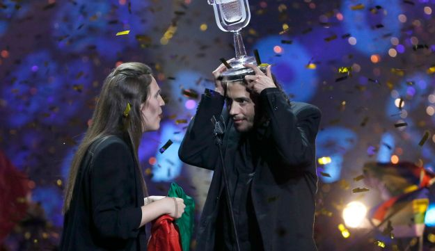 Portugal's Salvador Sobral celebrates after winning the grand final of the Eurovision Song Contest 2017, Kiev, Ukraine, May 13, 2017.