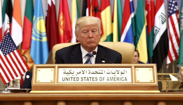 Trump before delivering a speech at the King Abdulaziz Conference Center, May 21, 2017, in Riyadh, Saudi Arabia.
