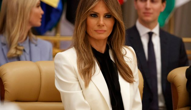 Melania Trump waits for her husband, U.S. President Donald Trump, to deliver a speech to the Arab Islamic American Summit in Riyadh on May 21, 2017.
