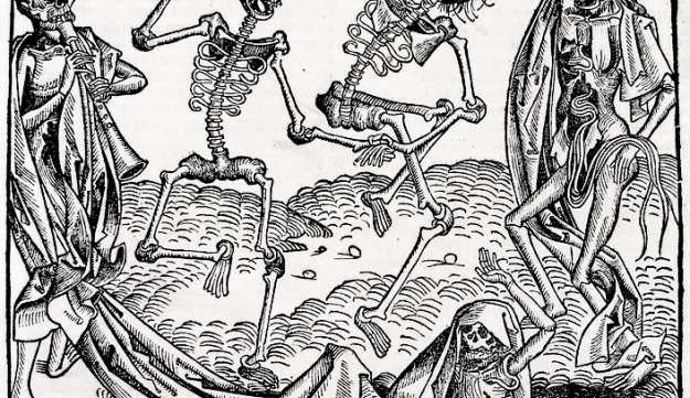 The danse macabre of the undead by Michael Wolgemut, from the Liber chronicarum by Hartmann Schedel, 1493.