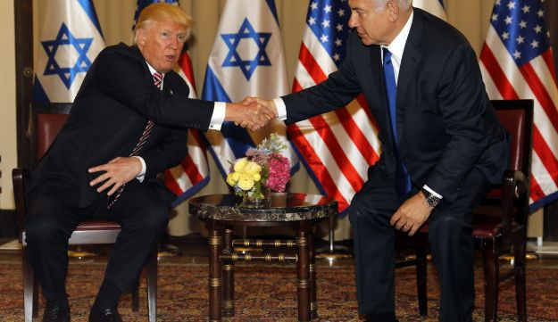 U.S. President Donald Trump shakes hand with Israeli Prime Minister Benjamin Netanyahu at the King David Hotel in Jerusalem. May 22, 2017