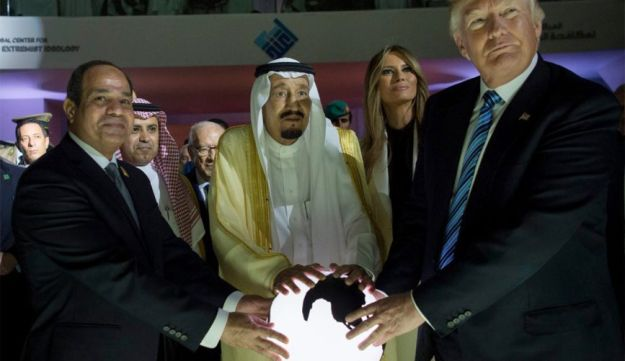 Egyptian President Abdel Fattah al-Sissi, Saudi King Salman, U.S. First Lady Melania Trump and President Donald Trump at a new Global Center for Combating Extremist Ideology, Riyadh, Saudi Arabia. May 21, 2017
