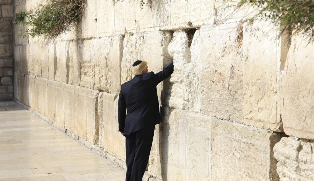 President Trump looking for a miracle at the Western Wall, Jerusalem, February 22, 2017.