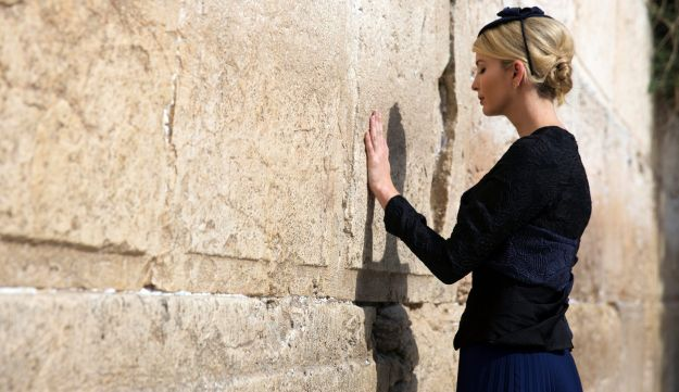Ivanka Trump touches the Western Wall in Jerusalem's Old City, May 22, 2017.