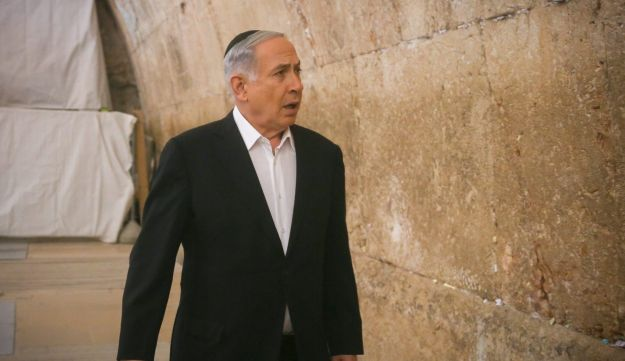 Benjamin Netanyahu in the Western Wall Tunnels, February 28, 2015.
