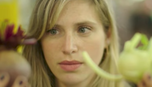 Liron Lavi Turkenich comparing produce in a video for her Aravit writing system.