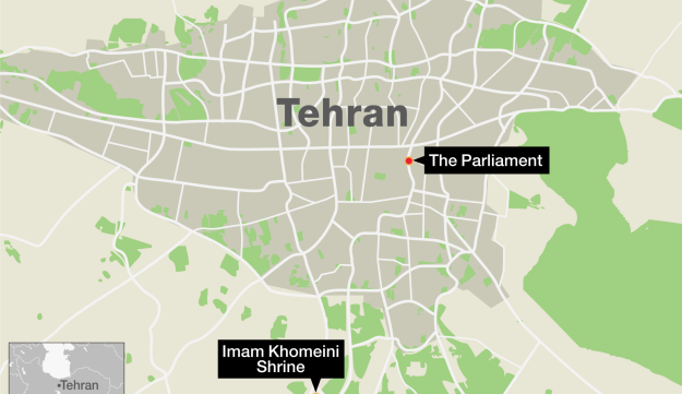 A map showing the sites of the Tehran attacks