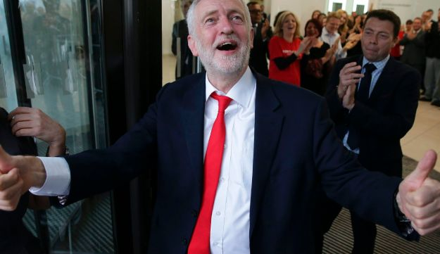 Britain's opposition leader Jeremy Corbyn arrives at Labour Party headquarters in central London on June 9, 2017.