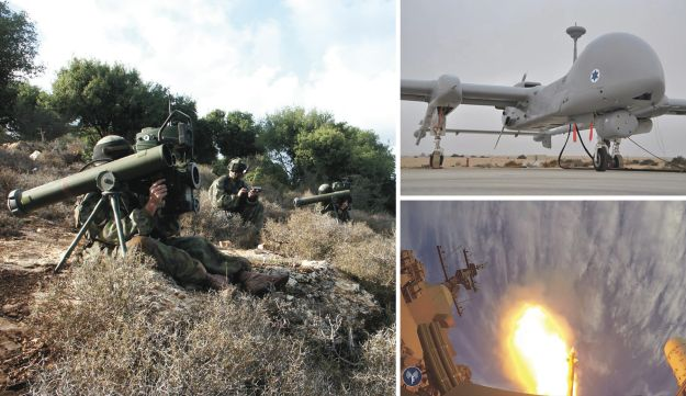 A collage featuring the Spike anti-tank missile (left), the Heron TP, known in Israel as the Eitan (upper right) and the Barak 8 air defense system (lower right).