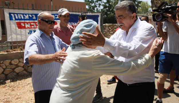 Amir Peretz campaigning in Sderot, southern Israel, July 2, 2017.