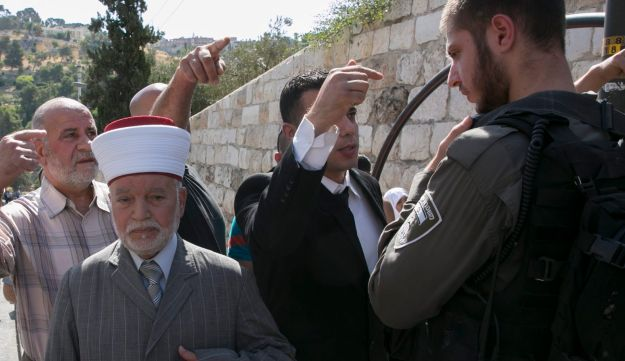 Muhammad Ahmad Hussein, the grand mufti of Jerusalem, at the Old City of Jerusalem following the attack, July 14, 2017.