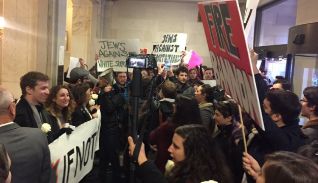 IfNotNow protesters demonstrating against Donald Trump's appointment of Steve Bannon at the General Services Administration in Washington D.C., November 17, 2016.