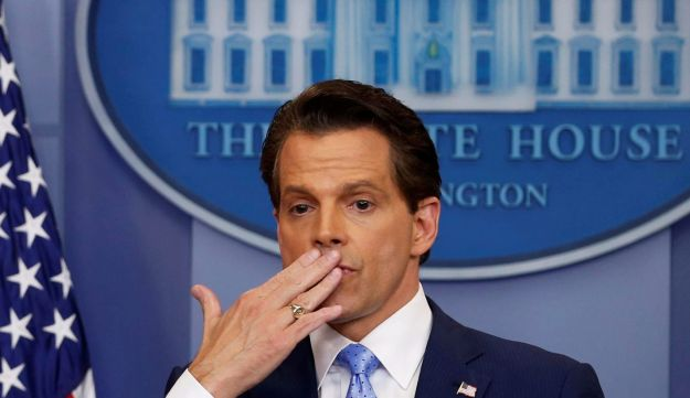 Anthony Scaramucci blows a kiss to reporters after addressing the daily briefing at the White House, July 21, 2017.