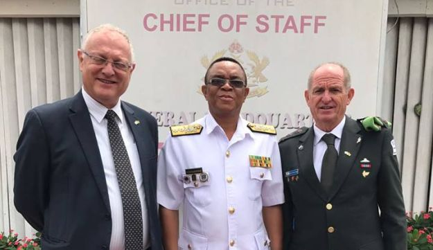 Israeli Ambassador to Ghana Ami Mehl (left) and Defense Attache Aviezer Segal (right) met in Accra with senior military officers on July 26, 2017.