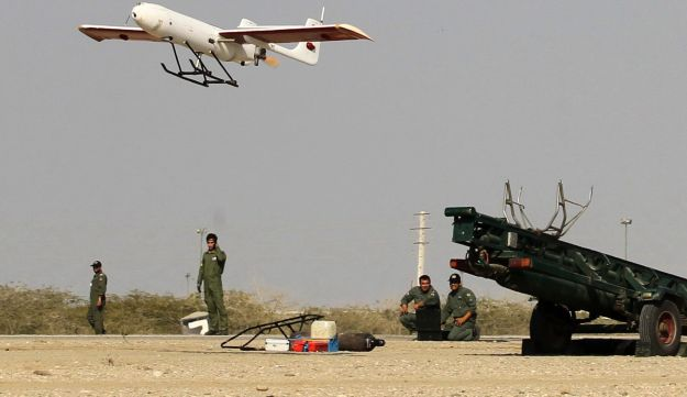 Iranian made drone is launched during a military drill on December 25, 2014.