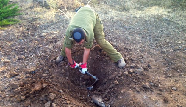 Rocket land site in Golan Heights, July 14, 2014.