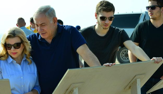 Prime Minister Benjamin Netanyahu visiting Tel Gezer with his wife Sara and sons Yair and Avner in September, 2017.