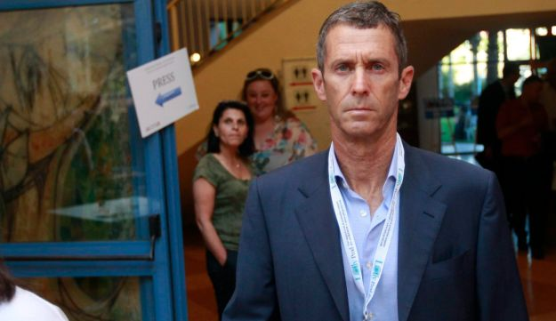 Businessman Beny Steinmetz exiting a business conference in Netanya in June, 2013.