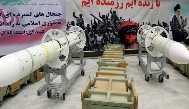 This file photo released by Iran's Defence Ministry on July 22, 2017 shows newly-upgraded Sayyad-3 air defense missiles on display during an inauguration of its production line at an undisclosed location in Iran, according to official information released.