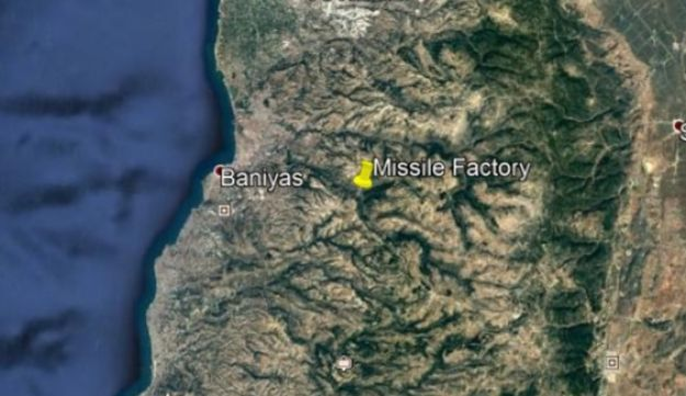 Map of location of alleged missile factory in northern Syria