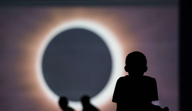 Children watch a presentation about the eclipse in Columbia, South Carolina, August 20 2017