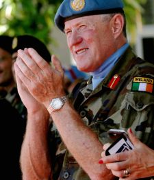 (FILES) This file photo taken on July 19, 2016 shows newly-appointed Head of Mission and Force Commander of the United Nations Interim Force in Lebanon (UNIFIL), Major General Michael Beary of Ireland applauding during a handover ceremony at the UNIFIL headquarters in the southern Lebanese village of Naqura.