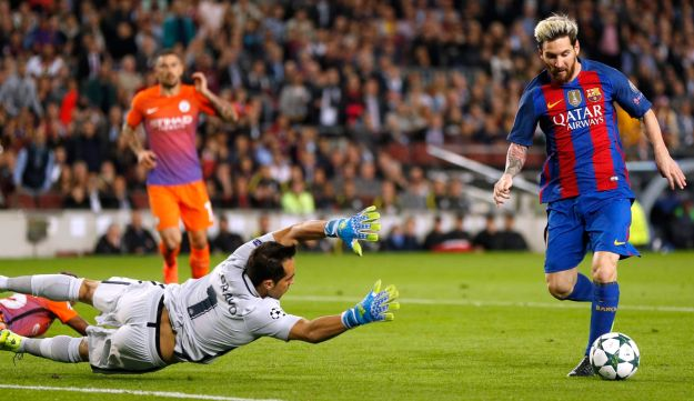 Leo Messi scoring for Barcelona against Manchester City in October 2016. City reportedly wants to buy the Argentine superstar to help it win the Champions League.