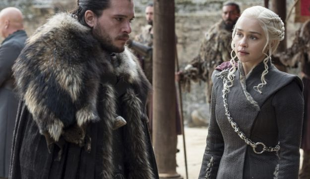 Kit Harington, left, and Emilia Clarke in the season finale of 'Game of Thrones.'