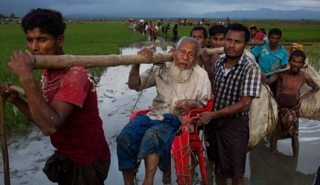 Ethnic Rohingya carry an elderly man and walk through rice fields after crossing over to the Bangladesh side of the border near Cox's Bazar's Teknaf area, Friday, Sept. 1, 2017.