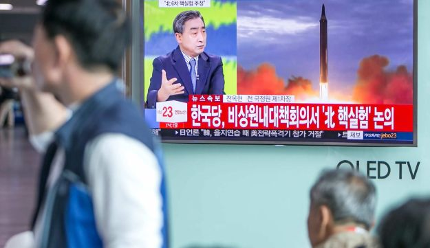 Television news broadcast on North Korea's nuclear test at Seoul Station in Seoul, South Korea. Sept. 3, 2017