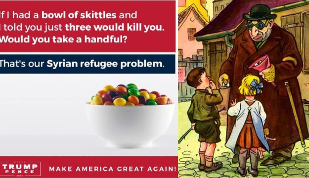 Donald Trump Jr. likens Syrian refugees to poisoned Skittles in a tweet on September 20, 2016.  Illustration from 'Der Giftpilz' ('The Poisonous Mushroom'), a Nazi propaganda book for children published by Julius Streicher.