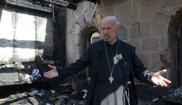 The Church of the Multiplication of Loaves and Fishes, following the June, 2015 arson attack.