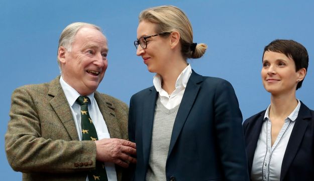 Frauke Petry (R), co-chairwoman of the Alternative for Germany party, stands with top candidates Alexander Gauland (L) and Alice Weidel (C) before a press conference, Berlin, September 25, 2017.