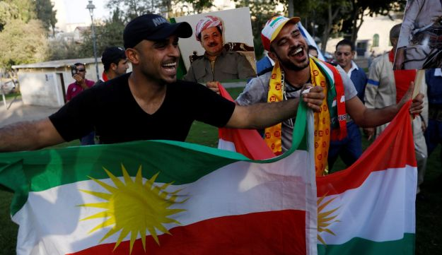 Israelis of Kurdish origin take part in a rally in support of the Kurdish referendum outside the U.S. Consulate in Jerusalem, September 24, 2017. Participants waved the flag of the autonomous Kurdish region in Iraq.