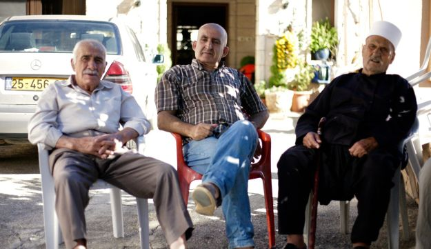 Druze men relaxing in Majdal Shams, September 2017.