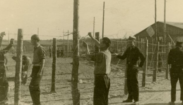 Jews repairing fencing at a DP camp in Germany, September 1947