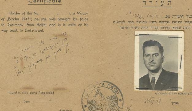 A 1947 photo of the fake certificate identifying Robert Gary as a passenger of the SS Exodus