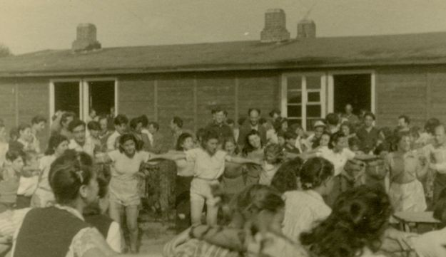 Jews dancing in a DP camp in Germany, September 1947