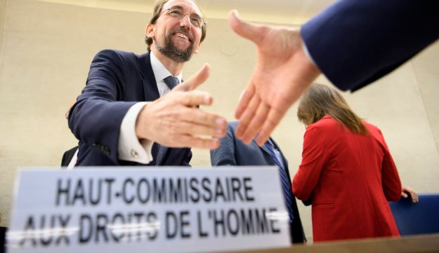 Zeid Ra'ad Al Hussein, UN High Commissioner for Human Rights, shakes hand with delegates before the opening of the 36th session of the Human Rights Council, at the European headquarters of the United Nations, UN, in Geneva, Monday, Sept. 11, 2017.