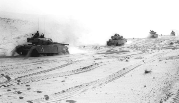 Israeli tanks on their way to the Suez Canal, October 1973.