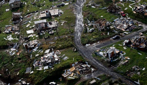 Destroyed communities are seen in the aftermath of Hurricane Maria in Toa Alta, Puerto Rico, Thursday, Sept. 28, 2017.
